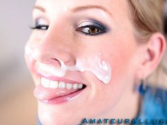 Aimee Addison returns to Amateur Allure and this time this babe wants a facial. This stunning golden-haired is tall, breasty and a very nasty cutie. That Babe is an amazing 10-Pounder sucker and this babe puts my weenie to the test. I hold out as lengthy as I can after pounding her taut litte bawdy cleft. I discharge a huge load of thick and sticky cum all over her beautiful face. I scraped the sticky goo off her face with a spoon and feed it to her. This Babe completely can't live without it.