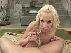 This pretty golden-haired is gonna give u the wanking of your life, teasing your thick dick with her melons and then getting it sticky wet with her spit.  Eden Adams knows exactly how to jerk it and goes nuts using the one and the other hands until this babe gets a captivating helping of cock juice.