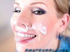 Aimee Addison returns to Amateur Allure and this time that babe wants a facial. This stunning golden-haired is tall, breasty and a very nasty beauty. That Babe is an amazing weenie sucker and that babe puts my rod to the test. I hold out as lengthy as I can after pounding her constricted litte slit. I discharge a huge load of thick and sticky cum all over her beautiful face. I scraped the sticky goo off her face with a spoon and feed it to her. This Babe absolutely likes it.