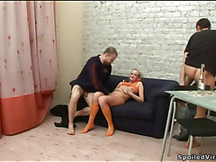 Lusty stud is pounding two taut snatches zealously